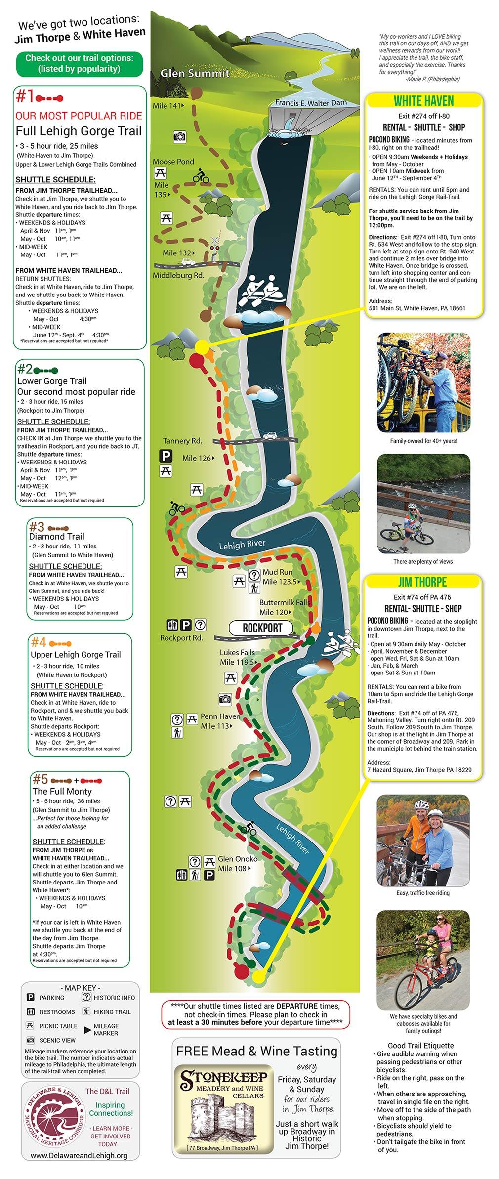 Trail Map Pocono Biking Trail Map Pocono Bike Trails Biking