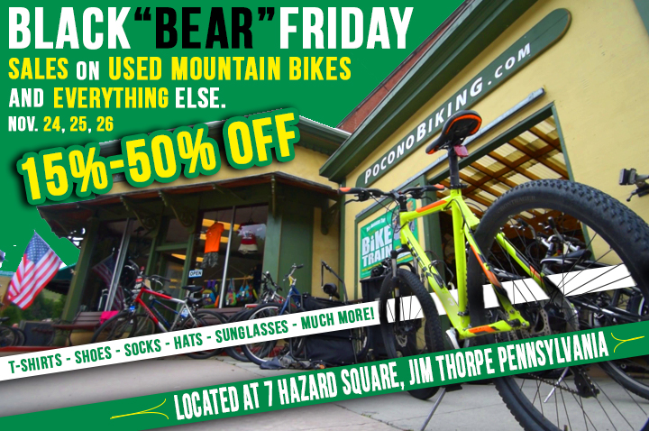 Pocono Biking Black Friday Sale, Bike Sale, Jim Thorpe, Used Bike Sale, Used Kayak, Black Friday Deal, Poconos Biking, Pocono Bike Rental