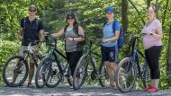 student deals, big day out, big night out, Group of bikers on the trail, Jim Thorpe, PA