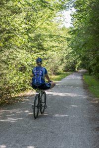 Biking on the D&L trail through the Lehigh Gorge State Park, twin trail ride, twin trails ride