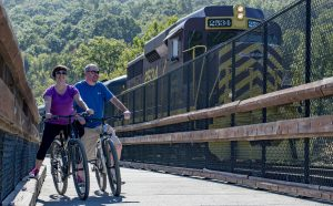 Bikers on rail trail as a train passes in Jim Thorpe, PA