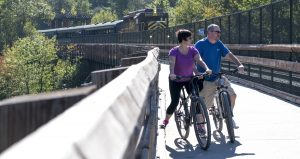 Bikers on the D & L trail in Jim Thorpe, PA