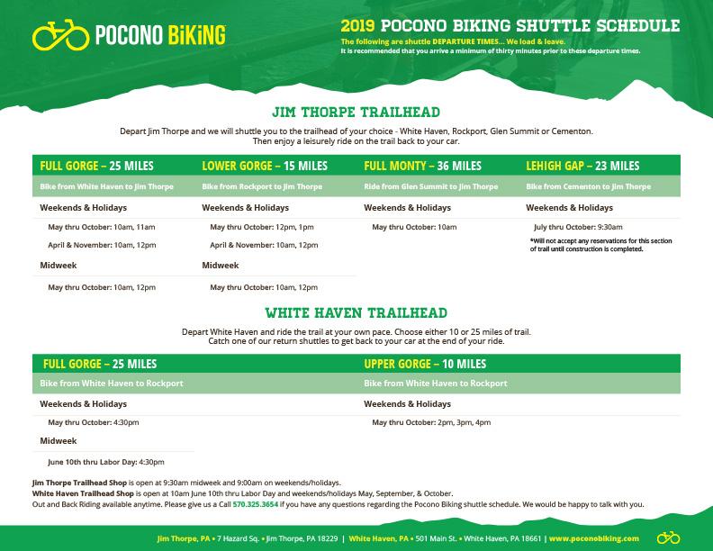 pocono biking shuttle schedule