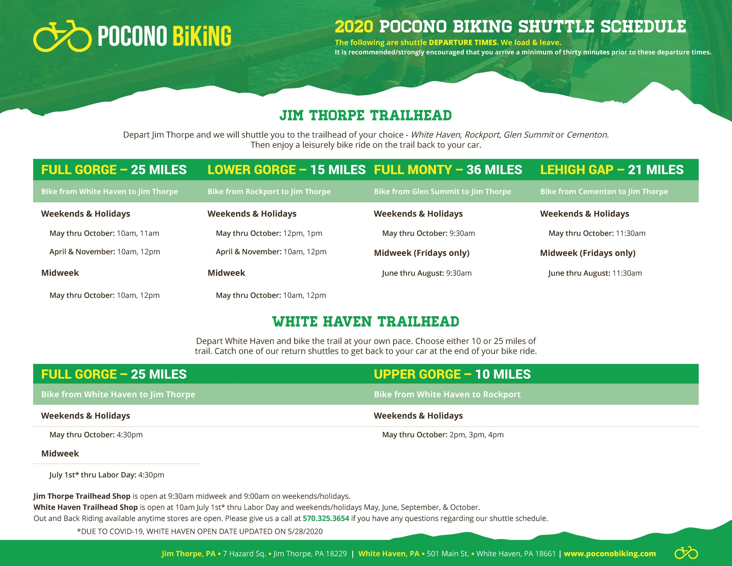 Pocono Biking Shuttle Scheduled 2020 (updated 5/28/20)